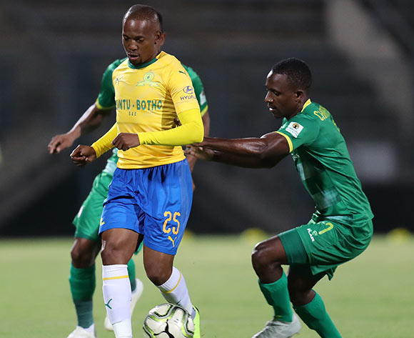 Aubrey Ngoma of Mamelodi Sundowns challenged by Talent Chawaphiwa of Baroka during the Absa Premiership 2018/19 match between Mamelodi Sundowns and Baroka FC at the Lucas Moripe Stadium, Atteridgeville on 11 December 2018 ©Muzi Ntombela/BackpagePix