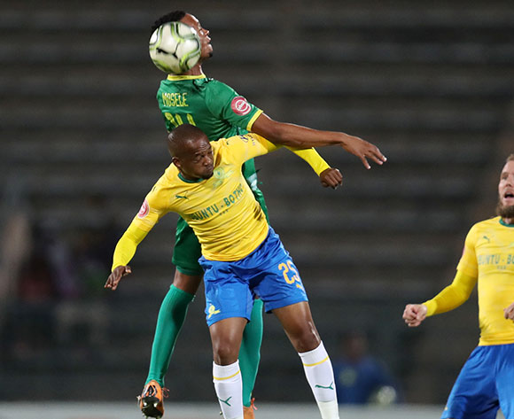 Aubrey Ngoma of Mamelodi Sundowns challenged by Goodman Mosele of Baroka during the Absa Premiership 2018/19 match between Mamelodi Sundowns and Baroka FC at the Lucas Moripe Stadium, Atteridgeville on 11 December 2018 ©Muzi Ntombela/BackpagePix
