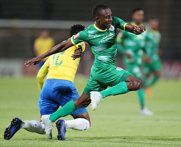 Talent Chawaphiwa of Baroka fouled by Motjeka Madisa of Mamelodi Sundowns during the Absa Premiership 2018/19 match between Mamelodi Sundowns and Baroka FC at the Lucas Moripe Stadium, Atteridgeville on 11 December 2018 ©Muzi Ntombela/BackpagePix