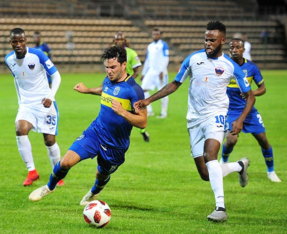Roland Putsche of Cape Town City is fouled by Jabulani Shongwe of Chippa United during the Absa Premiership 2018/19 game between Cape Town City and Chippa United at Athlone Stadium, Cape Town on 11 December 2018 ©Ryan Wilkisky/BackpagePix