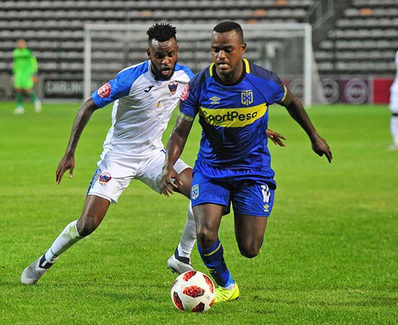 Ayanda Patosi of Cape Town City is challenged by Jabulani Shongwe of Chippa United during the Absa Premiership 2018/19 game between Cape Town City and Chippa United at Athlone Stadium, Cape Town on 11 December 2018 ©Ryan Wilkisky/BackpagePix