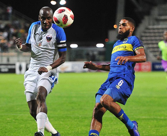 Ebrahim Seedat of Cape Town City is challenged by Chippa United captain Mark Mayambela during the Absa Premiership 2018/19 game between Cape Town City and Chippa United at Athlone Stadium, Cape Town on 11 December 2018 ©Ryan Wilkisky/BackpagePix