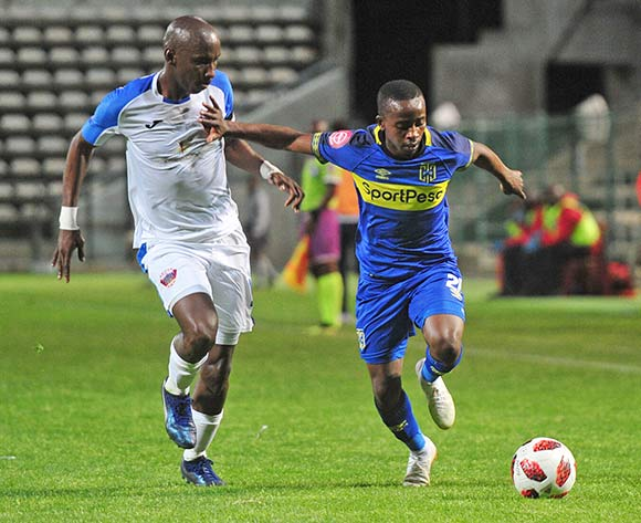 Thabo Nodada of Cape Town City takes on Chippa United captain Mark Mayambela during the Absa Premiership 2018/19 game between Cape Town City and Chippa United at Athlone Stadium, Cape Town on 11 December 2018 ©Ryan Wilkisky/BackpagePix