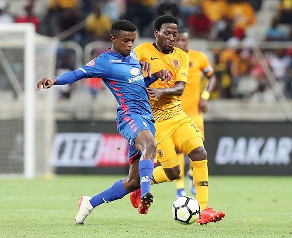Teboho Mokoena of Supersport United challenged by Siphelele Ntshangase of Kaizer Chiefs  during the Absa Premiership 2018/19 match between Kaizer Chiefs and Supersport United at the Mbombela Stadium, Nelspruit on 12 December 2018 ©Muzi Ntombela/BackpagePix