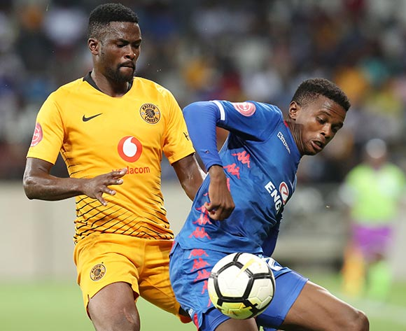 Teboho Mokoena of Supersport United challenged by Kgotso Moleko of Kaizer Chiefs during the Absa Premiership 2018/19 match between Kaizer Chiefs and Supersport United at the Mbombela Stadium, Nelspruit on 12 December 2018 ©Muzi Ntombela/BackpagePix