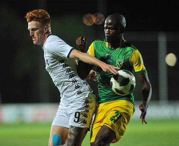 Simon Murray of Bidvest Wits is challenged by Nkanyiso Mngwengwe of Golden Arrows  during the Absa Premiership match between Bidvest Wits and Golden Arrows  on the 12 December 2018 at Bidvest Stadium   / Pic Sydney Mahlangu/BackpagePix