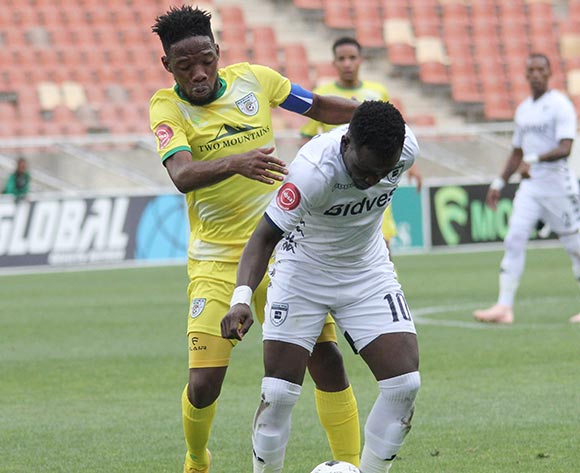 Gabadinho Mhango of Bidvest Wits and Mdududzi Mdantsane of Baroka FC during the Absa Premiership 2018/19 game between Baroka FC and Bidvest Wits at Peter Mokaba Stadium in Polokwane the on 16 December 2018 © Kabelo Leputu/BackpagePix