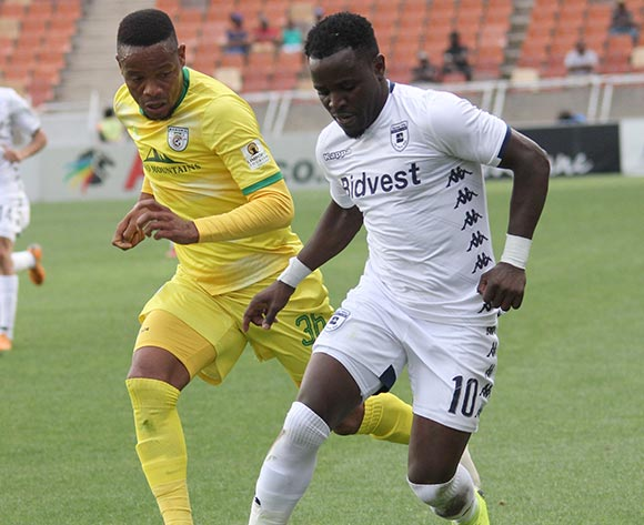 Gabadinho Mhango of Bidvest Wits and Thabiso Semenya of Baroka FC during the Absa Premiership 2018/19 game between Baroka FC and Bidvest Wits at Peter Mokaba Stadium in Polokwane the on 16 December 2018 © Kabelo Leputu/BackpagePix
