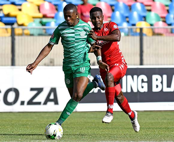 Ndumiso Mabena from Bloemfontein Celtic FC and Phoka Mofokeng from Highlands Park FC during the Absa Premiership 2018/19 game between Bloemfontein Celtic FC and Highlands Park at Dr Molemela Stadium, Bloemfontein on 17 December 2018 © Gerhard Steenkamp/BackpagePix