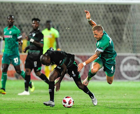 Contest between Ndumiso Mabena of Bloemfontein Celtic sent Michael Morton of AmaZulu FC flying through the air  during the Absa Premiership 2018/19 game between AmaZulu and Bloemfontein Celtic at King Zwelithini Stadium, KwaZulu-Natal on 12 December 2018 © Gerhard Duraan/BackpagePix