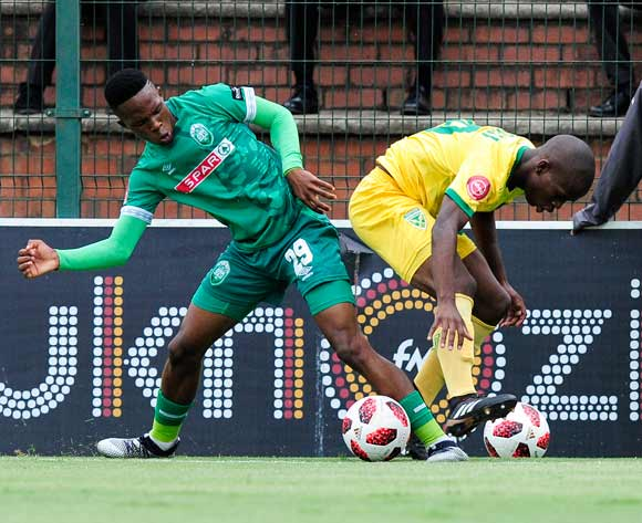 Subsiso Mobilise of AmaZulu FC  is challenged by  of Lamontville Golden Arrows during the Absa Premiership 2018/19 game between AmaZulu FC and Golden Arrows at King Zwelithini Stadium, Durban on 22 December 2018 ©Gerhard Duraan/BackpagePix