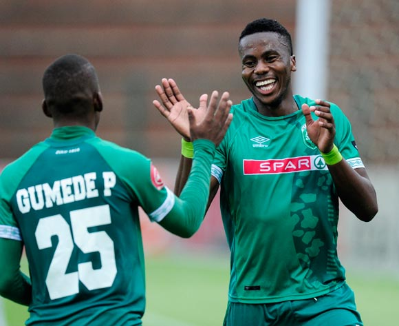 Bonginkosi Ntuli of AmaZulu FC celebrates his goal with Phumlani Gumede of AmaZulu FC during the Absa Premiership 2018/19 game between AmaZulu FC and Golden Arrows at King Zwelithini Stadium, Durban on 22 December 2018 ©Gerhard Duraan/BackpagePix