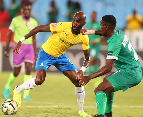 Anthony Laffor of Mamelodi Sundowns challenged by Tapelo Nyongo of AmaZulu during the the Absa Premiership 2018/19 match between Mamelodi Sundowns and AmaZulu at Loftus Versfeld Stadium, Johannesburg on 29 January 2019 ©Samuel Shivambu/BackpagePix