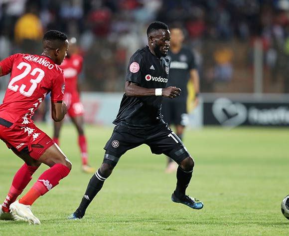 Augustine Mulenga of Orlando Pirates challenged by Spiwe Msimango of Highlands Park during the Absa Premiership 2018/19 match between Highlands Park and Orlando Pirates at the Makhulong Stadium, Tembisa on 08 January 2019 ©Muzi Ntombela/BackpagePix