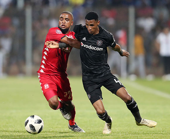Vincent Pule of Orlando Pirates challenged by Ricardo Williams of Highlands Park during the Absa Premiership 2018/19 match between Highlands Park and Orlando Pirates at the Makhulong Stadium, Tembisa on 08 January 2019 ©Muzi Ntombela/BackpagePix