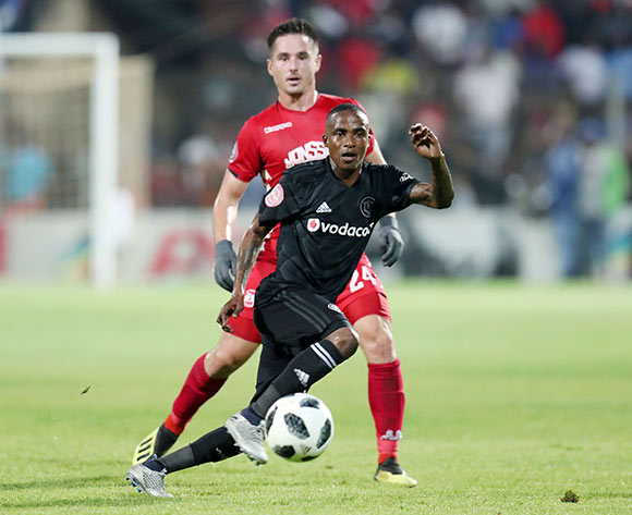 Thembinkosi Lorch of Orlando Pirates challenged by Ryan Rae of Highlands Park during the Absa Premiership 2018/19 match between Highlands Park and Orlando Pirates at the Makhulong Stadium, Tembisa on 08 January 2019 ©Muzi Ntombela/BackpagePix