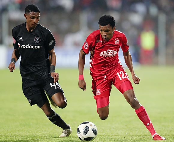 Mogaila Mokete of Highlands Park challenged by Vincent Pule of Orlando Pirates during the Absa Premiership 2018/19 match between Highlands Park and Orlando Pirates at the Makhulong Stadium, Tembisa on 08 January 2019 ©Muzi Ntombela/BackpagePix