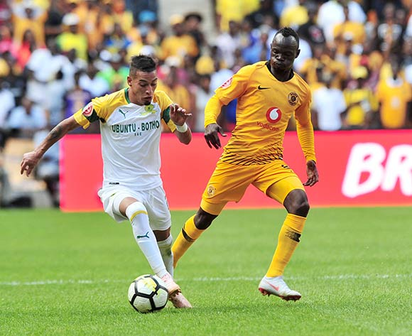 Gaston Sirino of Mamelodi Sundowns challenged by Godfrey Walusimbi of Kaizer Chiefs during the Absa Premiership 2018/19 match between Kaizer Chiefs and Mamelodi Sundowns at FNB Stadium, Johannesburg on 05 January 2019 ©Samuel Shivambu/BackpagePix
