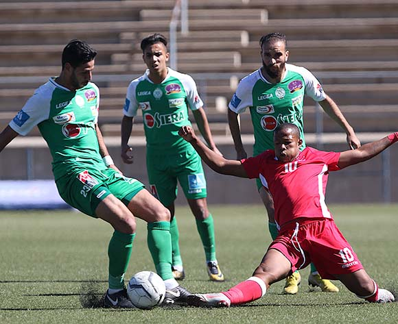 Salaheddine Bahia of Raja Casablanca and Ambrosius Amseb of African Stars in action during the CAF Confederations Cup 2018/19 game between African Stars and Raja Club Athletic at Sam Nujoma Stadium - Windhoek - Namibia on 12 January 2019 © Helge Schutz/BackpagePix