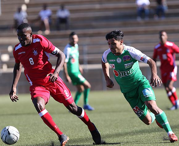Ronald Ketjijere of African Stars and Abdelilah Hafidi of Raja Casablanca in action during the CAF Confederations Cup 2018/19 game between African Stars and Raja Club Athletic at Sam Nujoma Stadium - Windhoek - Namibia on 12 January 2019 © Helge Schutz/BackpagePix