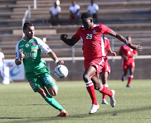 Abderrahim Achchakir of Raja Casablanca and Panduleni Nekundi of African Stars in action during the CAF Confederations Cup 2018/19 game between African Stars and Raja Club Athletic at Sam Nujoma Stadium - Windhoek - Namibia on 12 January 2019 © Helge Schutz/BackpagePix
