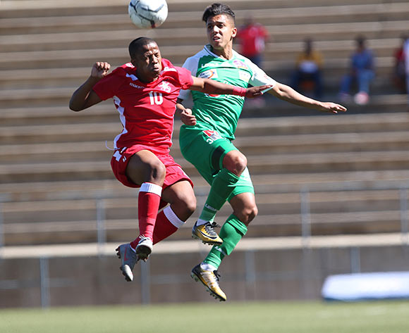 Ambrosius Amseb of African Stars and Imra Fiddi of Raja Casablanca in action during the CAF Confederations Cup 2018/19 game between African Stars and Raja Club Athletic at Sam Nujoma Stadium - Windhoek - Namibia on 12 January 2019 © Helge Schutz/BackpagePix