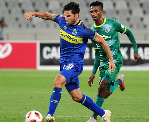 Roland Putsche of Cape Town City is challenged by Tebogo Sodi of Baroka FC during the Absa Premiership 2018/19 game between Cape Town City and Baroka FC at Cape Town Stadium on 12 January 2019 © Ryan Wilkisky/BackpagePix