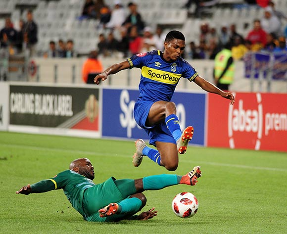 Gift Links of Cape Town City is challenged by Matome Kgoetyane of Baroka FC during the Absa Premiership 2018/19 game between Cape Town City and Baroka FC at Cape Town Stadium on 12 January 2019 © Ryan Wilkisky/BackpagePix