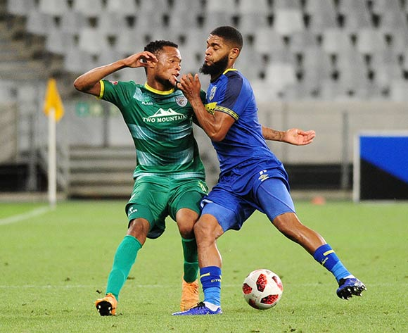 Goodman Mosele of Baroka FC is tackled by Ebrahim Seedat of Cape Town City during the Absa Premiership 2018/19 game between Cape Town City and Baroka FC at Cape Town Stadium on 12 January 2019 © Ryan Wilkisky/BackpagePix