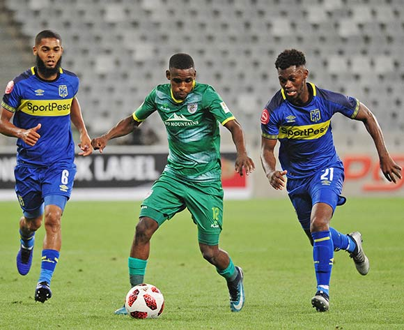 Collins Makgaka of Baroka FC is challenged by Thato Mokeke of Cape Town City during the Absa Premiership 2018/19 game between Cape Town City and Baroka FC at Cape Town Stadium on 12 January 2019 © Ryan Wilkisky/BackpagePix