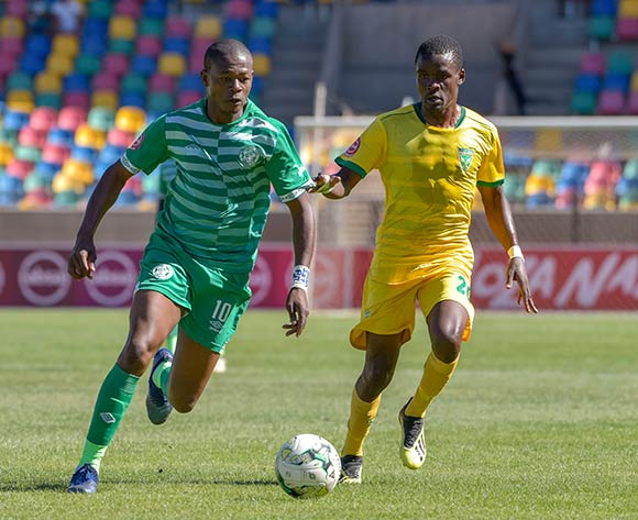 Ndumiso Mabena of Bloemfontein Celtic and Danny Phiri of Golden Arrows during the Absa Premiership 2018/19 game between Bloemfontein Celtic and Golden Arrows at Dr Molemela  Stadium in BLoemfontein on 13 January 2019 © Frikkie Kapp/BackpagePix