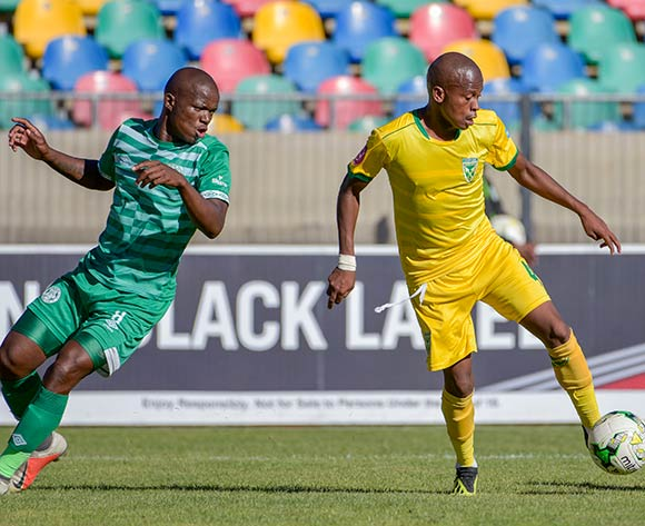 Danny Venter of Golden Arrows and Latshene Phalane of Bloemfontein Celtic during the Absa Premiership 2018/19 game between Bloemfontein Celtic and Golden Arrows at Dr Molemela  Stadium in BLoemfontein on 13 January 2019 © Frikkie Kapp/BackpagePix