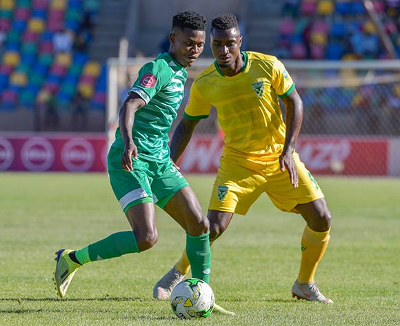 Menzi Masuku of Bloemfontein Celtic and Joao Moreira of Golden Arrows during the Absa Premiership 2018/19 game between Bloemfontein Celtic and Golden Arrows at Dr Molemela  Stadium in BLoemfontein on 13 January 2019 © Frikkie Kapp/BackpagePix