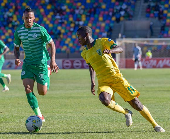Nduduzo Sibiya of Golden Arrows and Ryan de Jongh of Bloemfontein Celtic during the Absa Premiership 2018/19 game between Bloemfontein Celtic and Golden Arrows at Dr Molemela  Stadium in BLoemfontein on 13 January 2019 © Frikkie Kapp/BackpagePix
