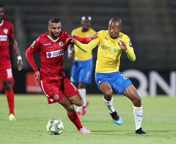 Thapelo Morena of Mamelodi Sundowns challenged by Ismail El Haddad of Wydad during the 2019 TOTAL CAF Champions League match between Mamelodi Sundowns and Wydad at the Lucas Moripe Stadium, Atteridgeville on the 19 January 2019 ©Muzi Ntombela/BackpagePix