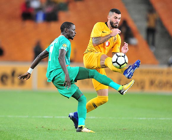 Lazarous Kambole of Zesco challenged by Daniel Cardoso of Kaizer Chiefs during the CAF Confederation Cup 2018/19 match between Kaizer Chiefs and Zesco at FNB Stadium, Johannesburg on 19 January 2019 ©Samuel Shivambu/BackpagePix