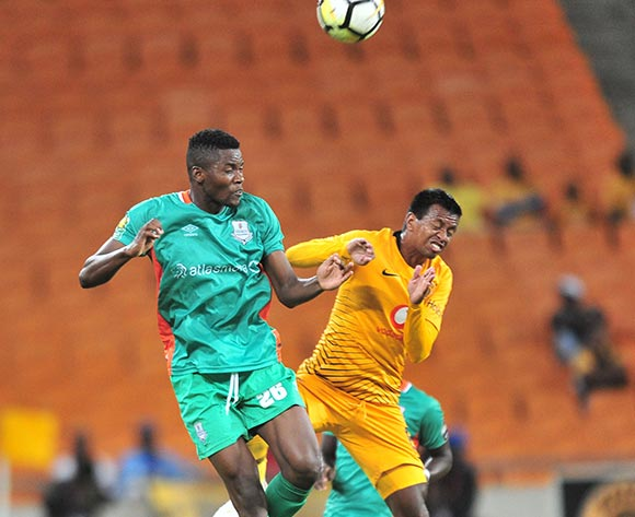 Andriamirado Andrianarimanana of Kaizer Chiefs challenged by Mwila Phiri Jr of Zesco during the CAF Confederation Cup 2018/19 match between Kaizer Chiefs and Zesco at FNB Stadium, Johannesburg on 19 January 2019 ©Samuel Shivambu/BackpagePix