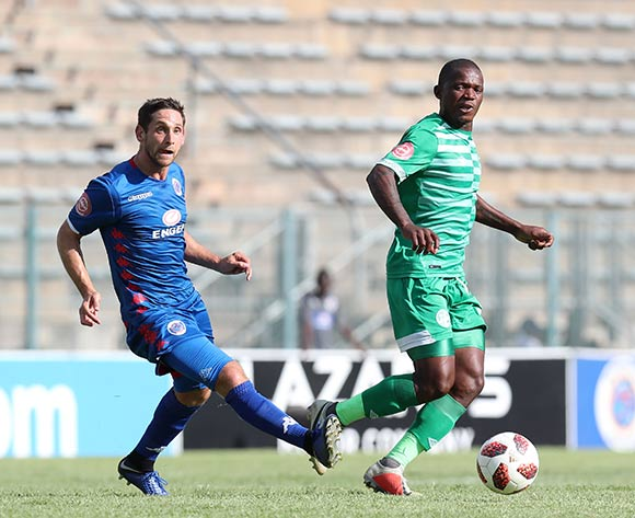 Lantshene Phalane of Bloemfontein Celtic challenged by Dean Furman of Supersport United during the Absa Premiership 2018/19 match between Supersport United and Bloemfontein Celtic at the Lucas Moripe Stadium, Atteridgeville on the 20 January 2019 ©Muzi Ntombela/BackpagePix
