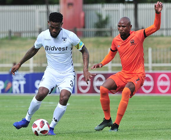 Thulani Hlatshwayo of Bidvest Wits challenged by Bongile Booi of Polokwane City during the Absa Premiership 2018/19 match between Polokwane City and Bidvest Wits at Old Peter Mokaba Stadium, Polokwane on 20 January 2019 ©Samuel Shivambu/BackpagePix