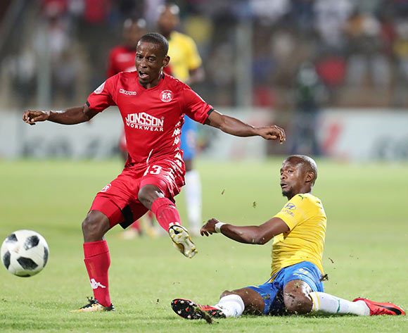 Lindokuhle Mbatha of Highlands Park tackled by Tebogo Langerman of Mamelodi Sundowns during the Absa Premiership 2018/19 match between Highlands Park and Mamelodi Sundowns at the Makhulong Stadium, Tembisa on the 22 January 2019 ©Muzi Ntombela/BackpagePix