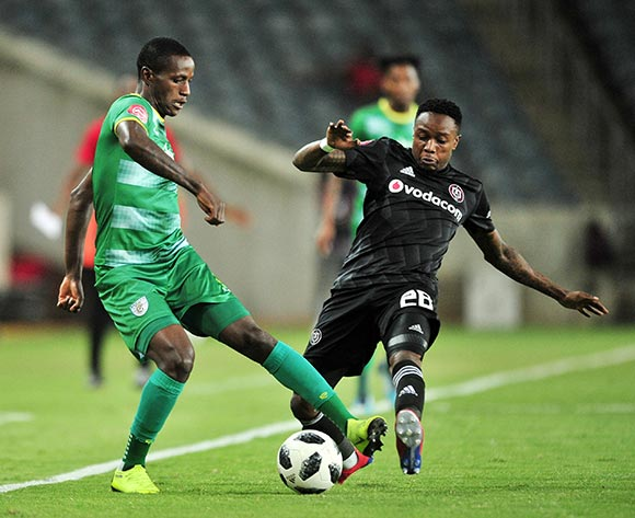 Ananias Gebhardt of Baroka challenged by Mthokozisi Dube of Orlando Pirates during the Absa Premiership 2018/19 match between Orlando Pirates and Baroka at Old Orlando Stadium, Johannesburg on 22 January 2019 ©Samuel Shivambu/BackpagePix