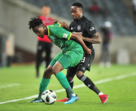 Matome Mabeba of Baroka challenged by Mthokozisi Dube of Orlando Pirates during the Absa Premiership 2018/19 match between Orlando Pirates and Baroka at Old Orlando Stadium, Johannesburg on 22 January 2019 ©Samuel Shivambu/BackpagePix