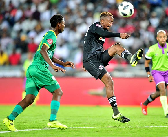 Linda Mlambo (r) of Orlando Pirates during the Absa Premiership 2018/19 match between Orlando Pirates and Baroka at Old Orlando Stadium, Johannesburg on 22 January 2019 ©Samuel Shivambu/BackpagePix