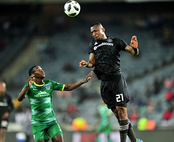 Collins Makgaka of Baroka challenged by Alfred Ndengane of Orlando Pirates during the Absa Premiership 2018/19 match between Orlando Pirates and Baroka at Old Orlando Stadium, Johannesburg on 22 January 2019 ©Samuel Shivambu/BackpagePix