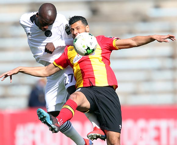 Ben Motshwari of Pirates and Anice Badri of Esperance during the 2018/19 CAF Champions League football match between Esperance and Pirates in Menzeh, Tunisia on 12 February 2019 @BackpagePix