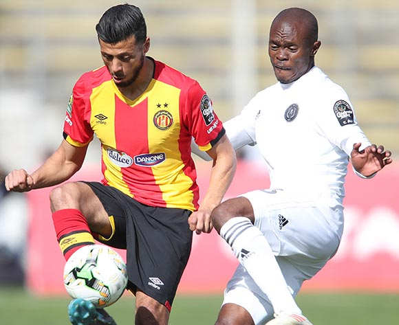 Anice Badri of Esperance and Asavela Mbekile of Pirates during the 2018/19 CAF Champions League football match between Esperance and Pirates in Menzeh, Tunisia on 12 February 2019 @BackpagePix