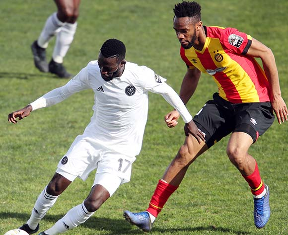 Augustine Mulenga of Pirates and Fousseny Coulibaly of Esperance during the 2018/19 CAF Champions League football match between Esperance and Pirates in Menzeh, Tunisia on 12 February 2019 @BackpagePix