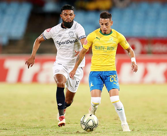 Leandro Sirino of Mamelodi Sundowns challenged by Keanu Cupido of Cape Town City during the Absa Premiership 2018/19 match between Mamelodi Sundowns and Cape Town City at the Loftus Versveld Stadium, Pretoria on the 27 February 2019 ©Muzi Ntombela/BackpagePix