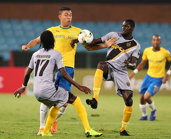 Ricardo Nascimento of Mamelodi Sundowns challenged by Kouame Alphonsoe Yao and Mohamed Ndao of Asec Mimosas during the 2019 TOTAL CAF Champions League match between Mamelodi Sundowns and Asec Mimosas at the Loftus Versveld Stadium, Pretoria on the 01 February 2019 ©Muzi Ntombela/BackpagePix