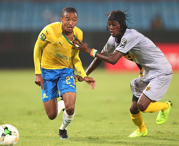 Thapelo Morena of Mamelodi Sundowns challenged by Kouame Alphonsoe Yao of Asec Mimosas during the 2019 TOTAL CAF Champions League match between Mamelodi Sundowns and Asec Mimosas at the Loftus Versveld Stadium, Pretoria on the 01 February 2019 ©Muzi Ntombela/BackpagePix